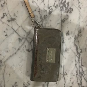 Michael Kors gray wristlet wallet clutch